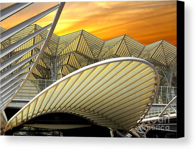 Abstract Canvas Print featuring the photograph Oriente Station by Carlos Caetano