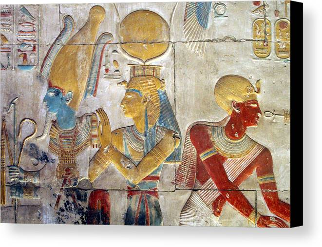 Horizontal Canvas Print featuring the photograph Osiris And Isis, Abydos by Joe & Clair Carnegie / Libyan Soup