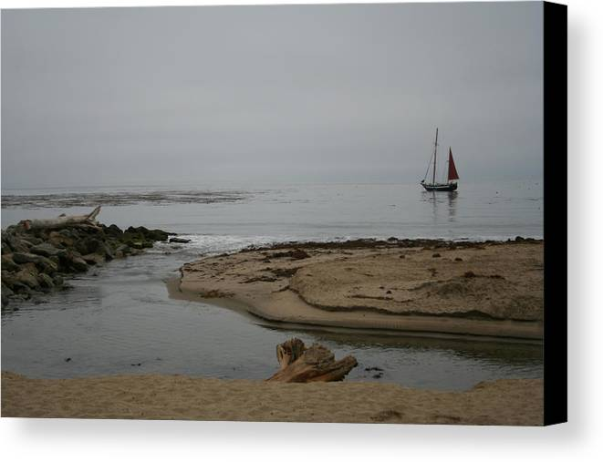 Ocean Sea Canvas Print featuring the photograph Overcast Day by Wendi Curtis