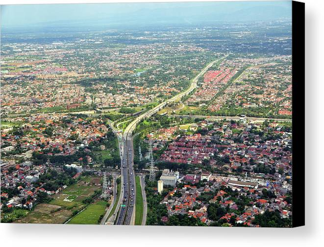 Horizontal Canvas Print featuring the photograph Overview Of Jakarta. by TeeJe