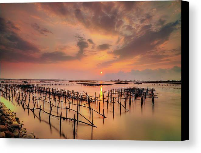Horizontal Canvas Print featuring the photograph Oyster Racks by Taiwan Nans0410