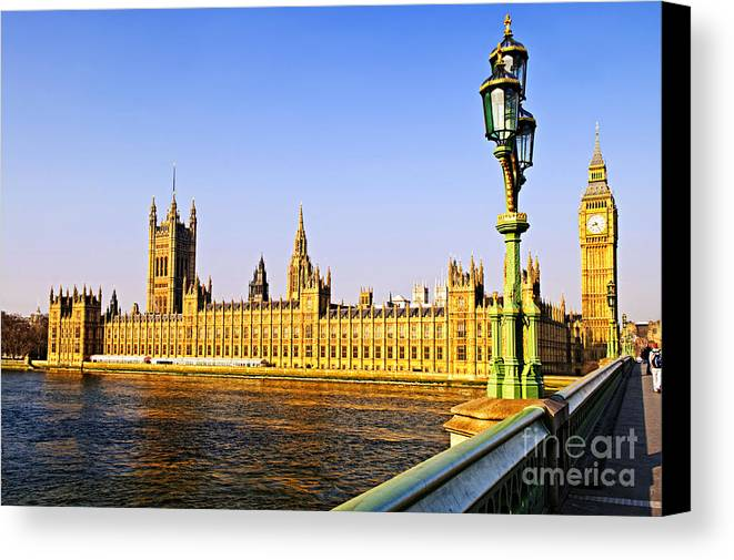 Palace Canvas Print featuring the photograph Palace Of Westminster From Bridge by Elena Elisseeva