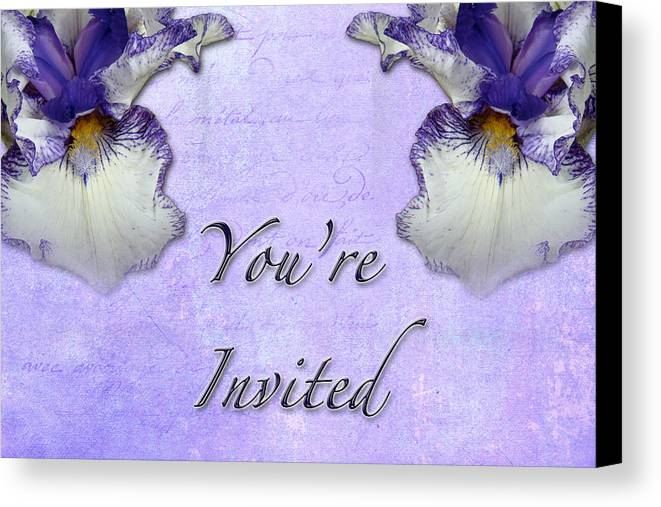 Invitation Canvas Print featuring the photograph Party Invitation - General - Wild Iris - Blue Flag by Mother Nature