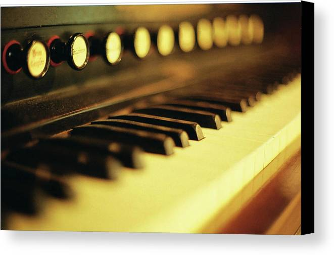 Horizontal Canvas Print featuring the photograph Piano Keys And Buttons by photographer, loves art, lives in Kyoto