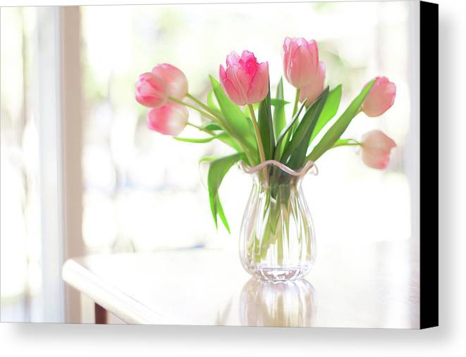 Horizontal Canvas Print featuring the photograph Pink Glass Vase Of Pink Tulips In Window by Jessica Holden Photography