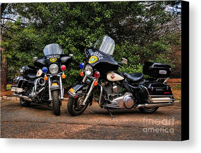 Police Bike Canvas Print featuring the photograph Police Motorcycles by Paul Ward