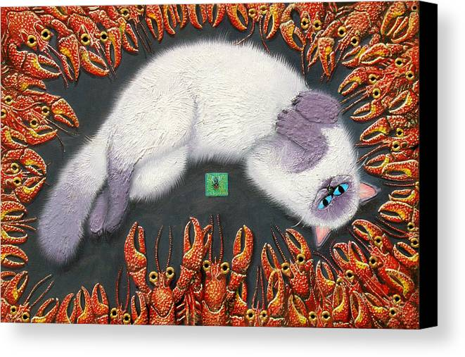 Cat Canvas Print featuring the painting Poobles In Cajunland by Baron Dixon