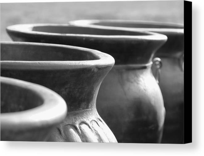 Terracotta Canvas Print featuring the photograph Pots In Black And White by Kathy Clark