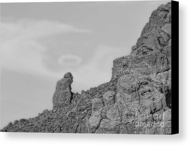 'praying Monk' Canvas Print featuring the photograph Praying Monk With Halo Camelback Mountain Bw by James BO Insogna