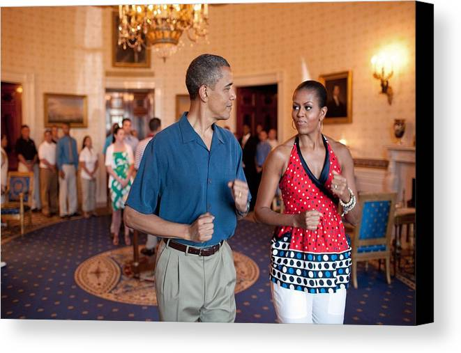 History Canvas Print featuring the photograph President And Michelle Obama Pretend by Everett
