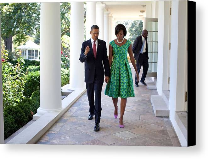 History Canvas Print featuring the photograph President And Michelle Obama Walk by Everett