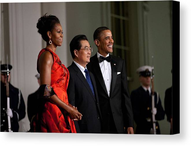 History Canvas Print featuring the photograph President And Michelle Obama Welcome by Everett