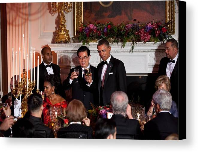 History Canvas Print featuring the photograph President Barack Obama And President Hu by Everett