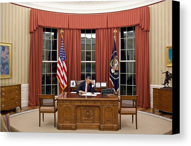 Bswh052011 Canvas Print featuring the photograph President Barack Obama Edits by Everett