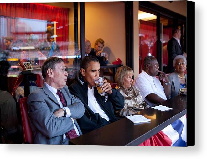 History Canvas Print featuring the photograph President Barack Obama Watches The 2009 by Everett