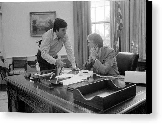 History Canvas Print featuring the photograph President Carter And His Chief Of Staff by Everett