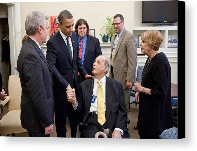 History Canvas Print featuring the photograph President Obama Greets James Brady by Everett