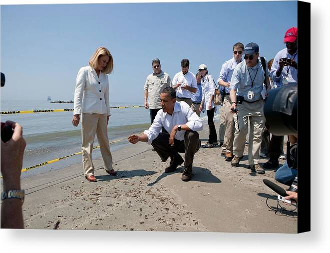 History Canvas Print featuring the photograph President Obama Inspects A Tar Ball by Everett