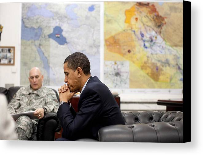 History Canvas Print featuring the photograph President Obama Meets With Gen. Raymond by Everett