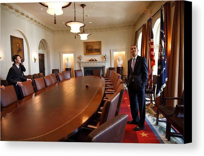 History Canvas Print featuring the photograph President Obama Surveys The Cabinet by Everett