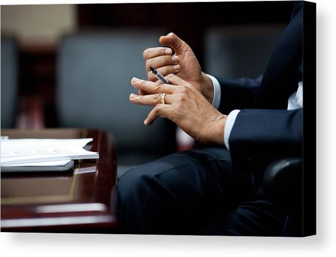 History Canvas Print featuring the photograph President Obamas Hands Gesture by Everett