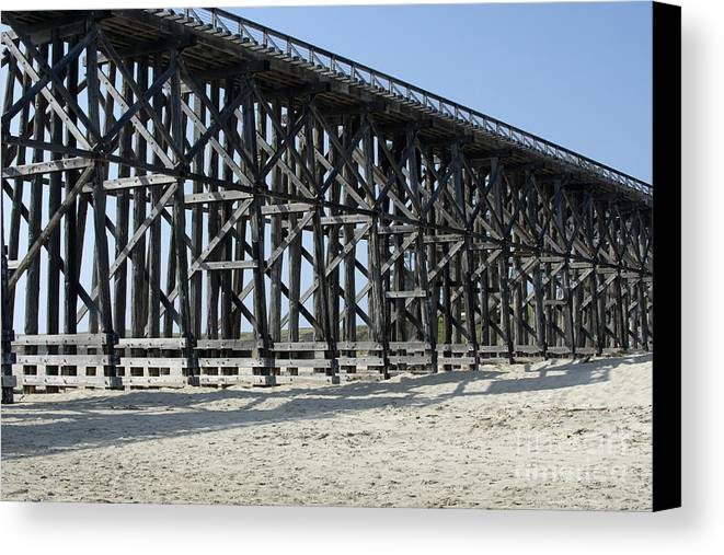 Structures Canvas Print featuring the photograph Pudding Creek Bridge by Sandra Bronstein