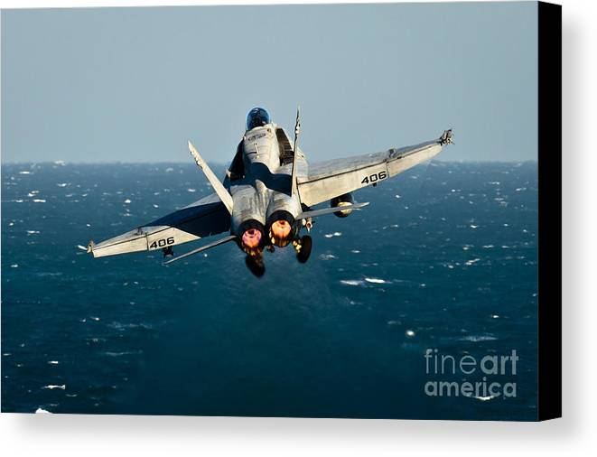 Operation Enduring Freedom Canvas Print featuring the photograph Rear View Of An Fa-18c Hornet Taking by Stocktrek Images