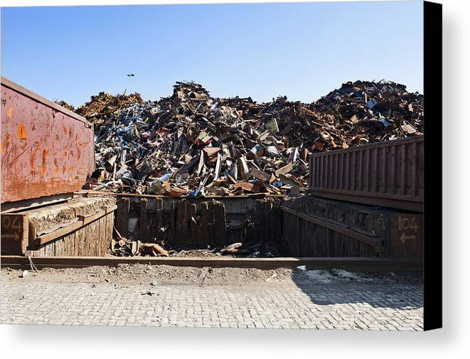 Arrangement Canvas Print featuring the photograph Recycle Dump Site Or Yard For Steel by Corepics