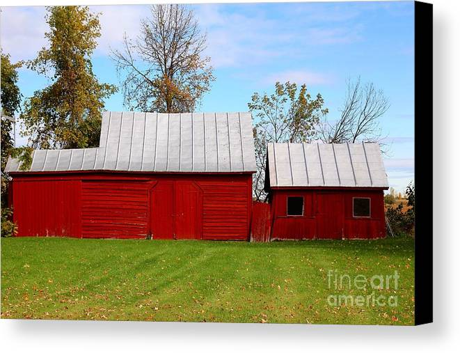Red Canvas Print featuring the photograph Red Barn by Sophie Vigneault