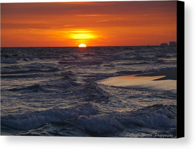 Sunset Canvas Print featuring the photograph Red Skies At Night by Charles Warren