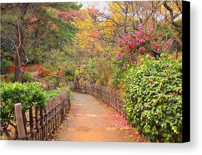 Horizontal Canvas Print featuring the photograph Road With Fence by ~~**Yuri's Photography**~~