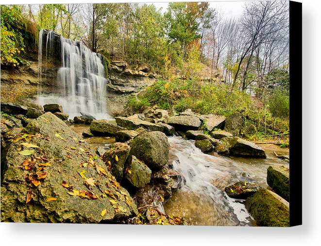 Hdr Canvas Print featuring the photograph Rock Glen Falls by Cale Best