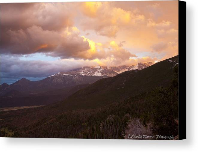 Rocky Mountains Canvas Print featuring the photograph Rocky Mountain Sunset by Charles Warren