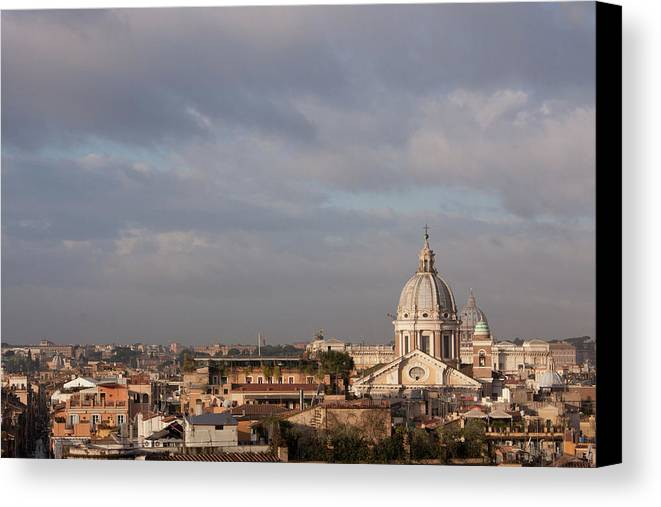 Horizontal Canvas Print featuring the photograph Roman Cityscape With Basilica by Nico De Pasquale Photography