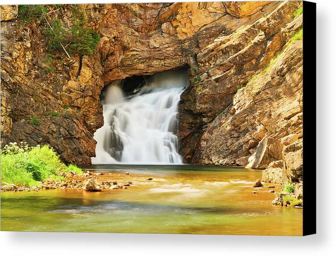 Glacier National Park Canvas Print featuring the photograph Running Eagle Falls by Greg Norrell
