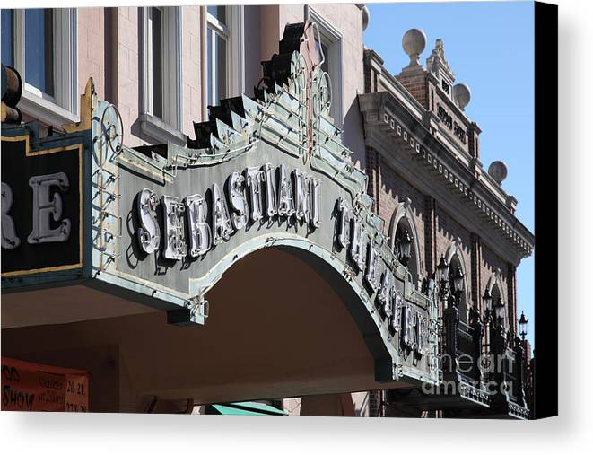 Sonoma Canvas Print featuring the photograph Sabastiani Theatre - Downtown Sonoma California - 5d19288 by Wingsdomain Art and Photography