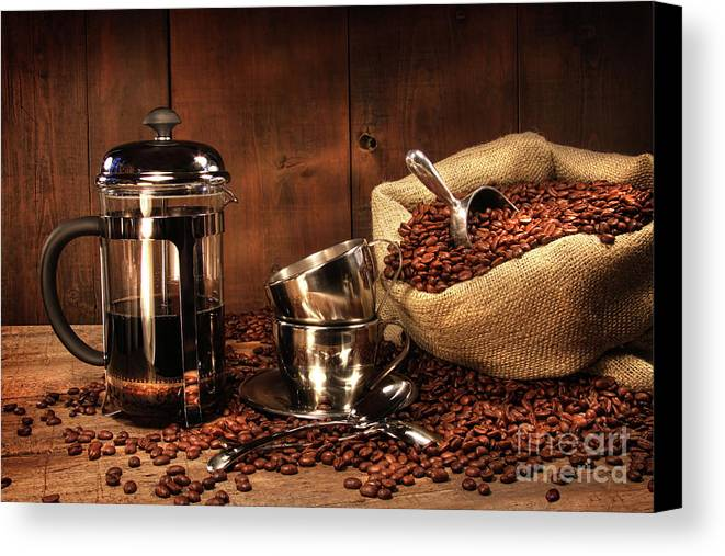 Aroma Canvas Print featuring the photograph Sack Of Coffee Beans With French Press by Sandra Cunningham