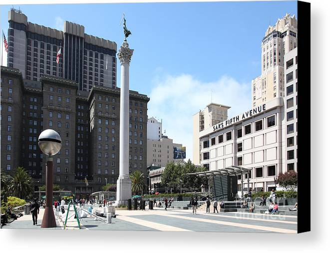 San Francisco Canvas Print featuring the photograph San Francisco - Union Square - 5d17933 by Wingsdomain Art and Photography