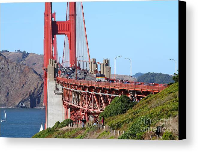 San Francisco Canvas Print featuring the photograph San Francisco Golden Gate Bridge . 7d8151 by Wingsdomain Art and Photography