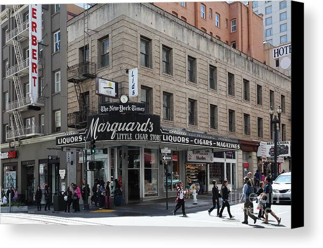San Francisco Canvas Print featuring the photograph San Francisco Marquards Little Cigar Store Powell Street - 5d17950 by Wingsdomain Art and Photography