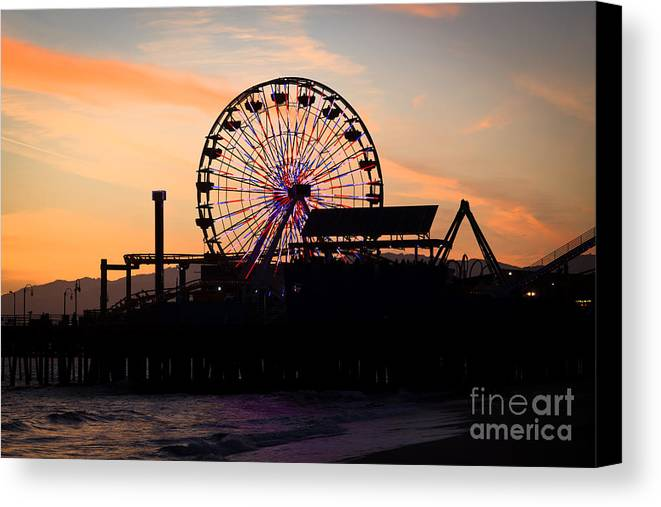 America Canvas Print featuring the photograph Santa Monica Pier Ferris Wheel Sunset by Paul Velgos
