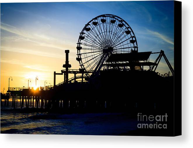 America Canvas Print featuring the photograph Santa Monica Pier Ferris Wheel Sunset Southern California by Paul Velgos