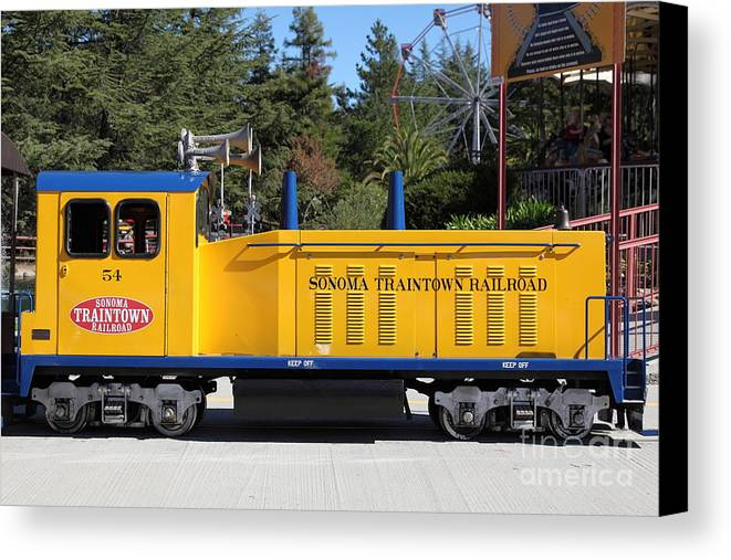 Sonoma Canvas Print featuring the photograph Scale Locomotive - Traintown Sonoma California - 5d19237 by Wingsdomain Art and Photography