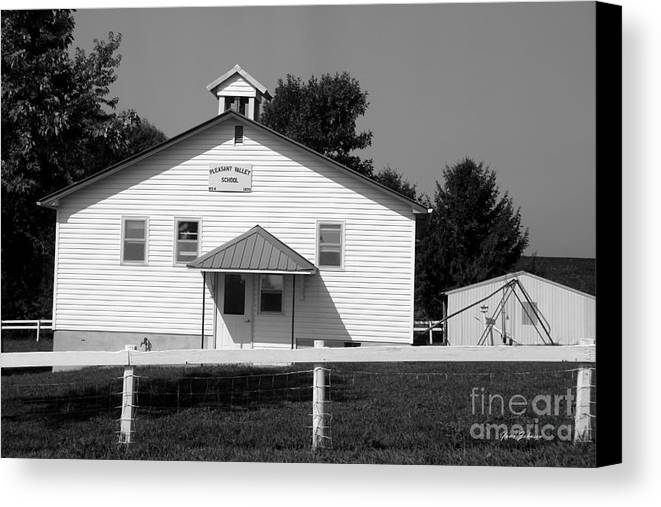 School House Canvas Print featuring the photograph School House In Black And White by Yumi Johnson