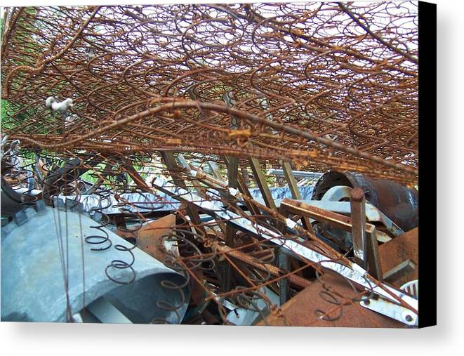 Metal Abstract Junk Yard Metal Yard Rusty Stuff Found Objects Canvas Print featuring the photograph Scrap Yard by Krista Ouellette