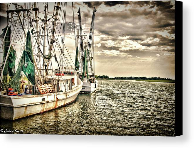 Canvas Print featuring the photograph Shrimp Boats by Calvin Smith
