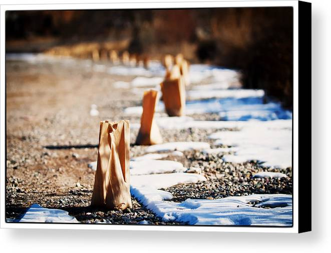 Taos Canvas Print featuring the photograph Side Road Luminaries by Lisa Spencer
