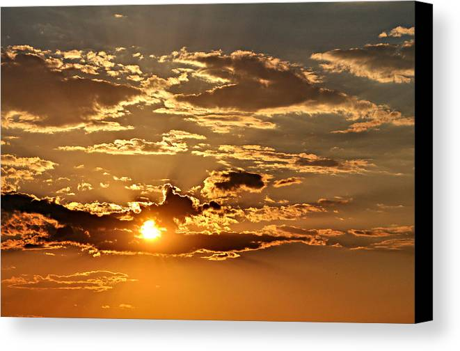 Sun Canvas Print featuring the photograph Sky Ablaze 1 by Marty Koch