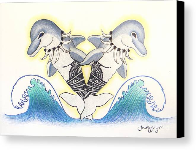 Soga'imiti Canvas Print featuring the drawing Soga'imiti Dolphins by Kristy Mao
