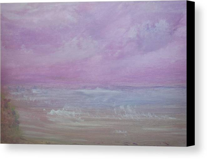 Sea Canvas Print featuring the painting Sonoma Beach Storm Clouds by Leona Dadian Akers